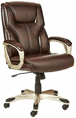Office Desk Chair - Brown with Pewter Finish High-Back Executive Swivel