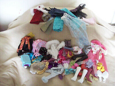 Large Lot Mixed Dolls Clothes & Accessories - Monster High? Bratz? & Others