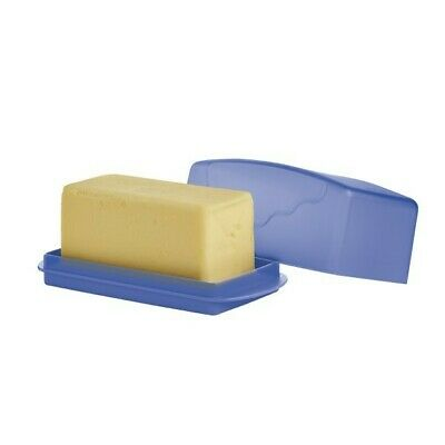 NEW TUPPERWARE 1 lb IMPRESSIONS BUTTER DISH w/ COVER BLUE Holds Double Stick