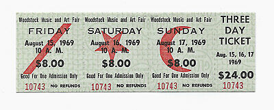 Authentic, Original 1969 Woodstock Music Festival $24 3-Day Pass MINT Condition