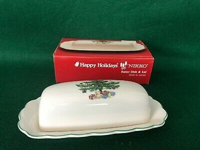 Nikko Happy Holidays Christmas 1/4 lb Butter Dish & Lid with original box. EUC