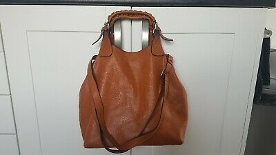 NEW 2419 Smart Leather Look Shopper Bag With Studs and Shoulder Strap tan