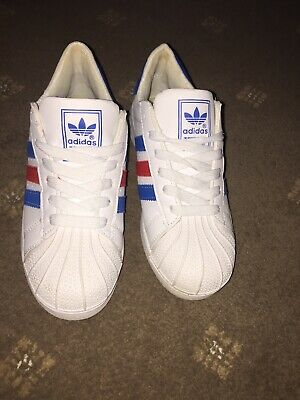 Details about ADIDAS SUPERSTAR WHITE & GREY METALLIC GREEN TRAINERS SIZE 5.5 UK WORN ONCE