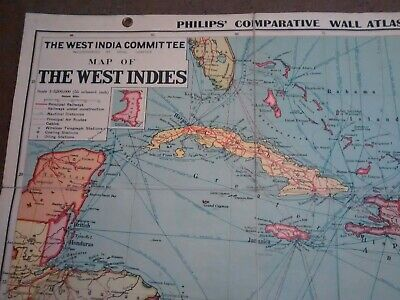 Vintage West Indies Map SCHOOL FOLDING MAP VGC