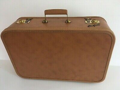 Vintage 50S 60S Starfrost tan Suitcase. GREAT SIZE, SATIN LINED, BRASS HARDWARE