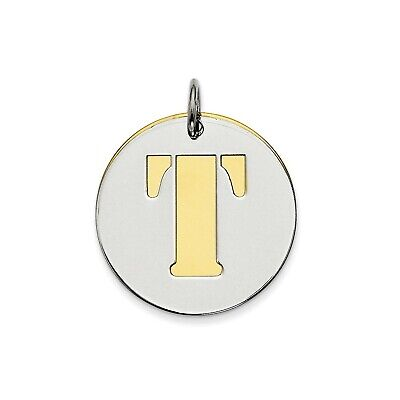 Sterling Silver GP Initial T Double Plate Round Charm (0.8in)