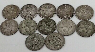 Job Lot of 11 x Vintage George V and 1 x George V1 Silver Threepence Coins