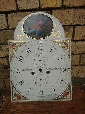 R. S Stokes, Birmingham Painted Enameled Dial Only, 8 Day Clock