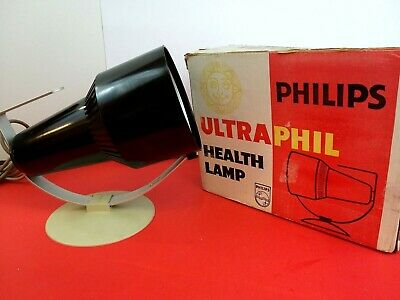 Vintage Large Philips 'Ultraphil' Heat Health Lamp Black - Working - Made in UK