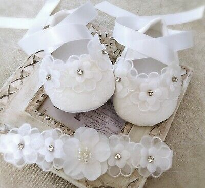 Baby Girl Off White Christening Shoes Baptism Shoes Daisy Pearls Thinestones
