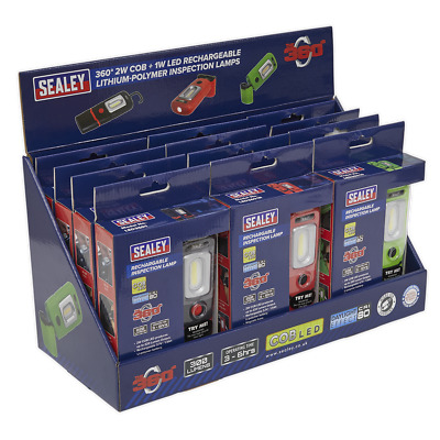 LED3601 Series Inspection Lamp Combination - Display Pack of 12 - UK SEALEY STOC