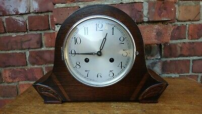 Art Deco Haller Oak Case 8 Day Stri Mantel Clock G. W. O