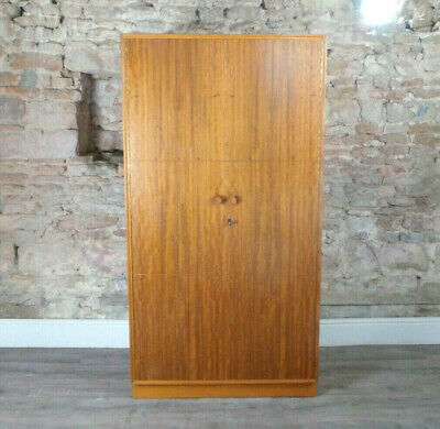 Vintage mid century MEREDEW 1950s CC41 large wardrobe & shelves light oak & teak