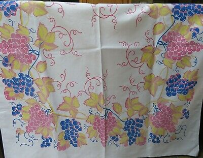 Vintage Print Tablecloth  Pink Blue Yellow Grapes and Foliage
