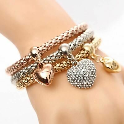 3 Pcs/Set Women Crystal Owl Heart Charm Bracelets & Bangles Plated Elephant Anch