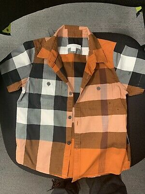 100% Authentic Burberry Boys Classic Check Short Sleeve Shirt