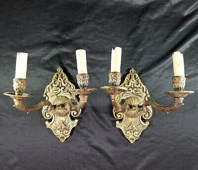 Pair of Vintage Wall Sconces Light Fixtures Brass Ornate Made in Spain