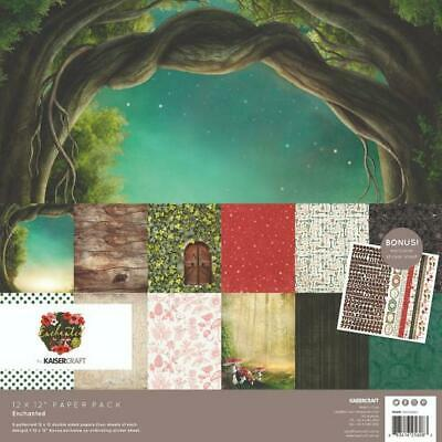 KAISERCRAFT Scrapbooking Paper Pack + Sticker Sheet Enchanted Fairy Garden Trees
