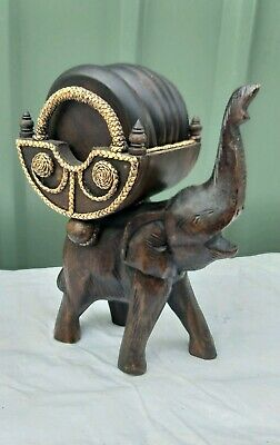 Vintage Carved Wooden Elephant With Drink Coasters