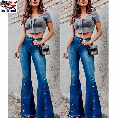 a984c02e2e3f Women's Denim Flared High Waist Wide Leg Pants Ladies Bell Bottom Jeans  Trousers