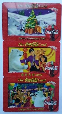1999 / 2000 COCA COLA Christmas Collector Cards Collectors Cards 3 in Lot