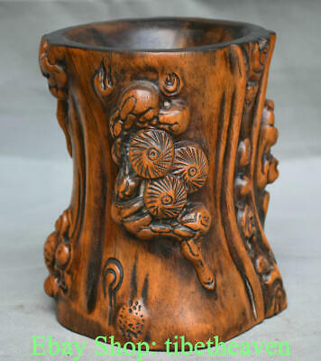 "6.4"" Old China Huanghuali Wood Hand-carved Palace Branch Pencil Vase brush pot"
