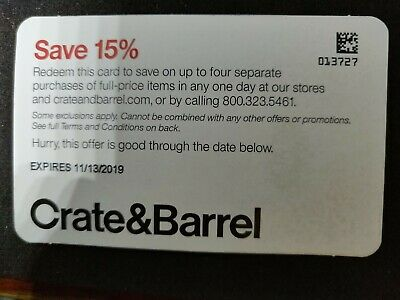 Crate and Barrel 15% off -works on all purchases Promo Code Discount
