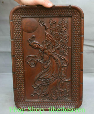 """14.2"""" Old China Huanghuali Wood Hand-carved female celestial plate dish tray"""