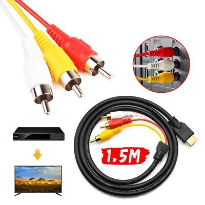HDMI to RCA Cable Converts Digital HDMI Cable AV For w/TV HDTV/Xbox 360/PC/DVD