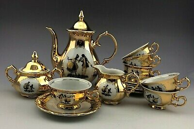Royal KPM Porzellan Bavaria Germany Hand Painted Gold Demitasse Set for Six