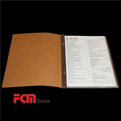 LEATHER & WOOD CLASSIC A4 Menu Folder with 10 Pockets