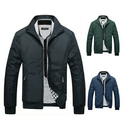 Mens Winter Slim Collar Thick Jackets Casual Coat Warm Outerwear Bomber Jacket