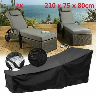 2X Black Waterproof Sunbed/Sun Lounger Garden Furniture Cover Patio Rattan Bed