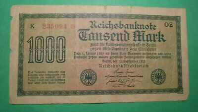 1000 Mark German Banknote 1922.