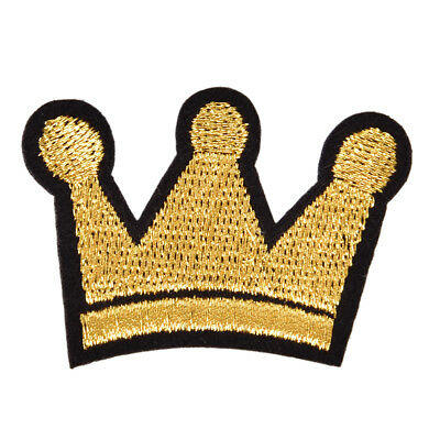 Crown Iron On Patch Sew On Embroidered Applique Fabric Badge for Jacket Coat RR