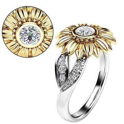 Fashion Womens Sunflower Silver Gold Plated Zircon Ring Wedding Jewelry Gift