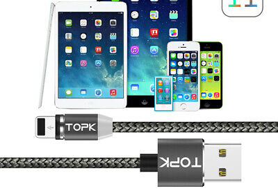 TOPK AM17 1M LED Magnetic USB Cable for iPhone Xs Max 8 7 6 & USB Type C Cable &
