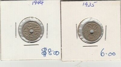 1935 & 1944 papua new guinea  3 pence  coins
