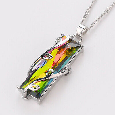 Ladies Handmade Rainbow Mystical Fire Topaz Silver Plated Pendant Charm Necklace