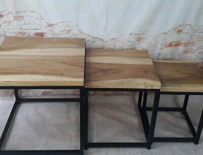 Set 3 x Wooden Stool Side Table 53cm Chair Coffee Table Bali Handmade Solid Wood