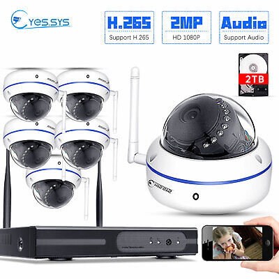 HD 1080P 8CH WIFI NET NVR 6X 2MP Audio Monitored IP Camera 1/2TB Security SYSTEM