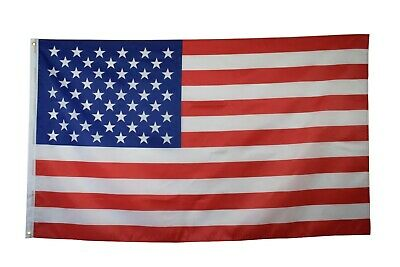 (U.S.A) 2 Polyester 3'x5' FT American FLAG with Brass Grommets (2 Pack)