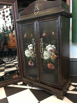 Vintage Beautiful Hand Painted Floral wooden tall 1970's jewellery/CD Cabinet