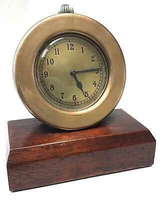 Beautiful Antique Goliath Pocket Watch Car Clock In Mahogany Stand