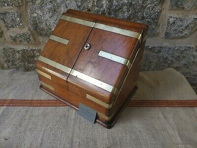 A Victorian Oak & Brass Stationery Box with a Perpetual Calender