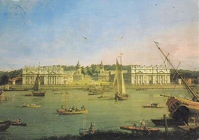 1990s VINTAGE COLOUR ART PRINT POSTCARD Canaletto: Greenwich Hospital + STAMPS
