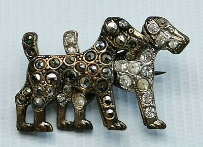 Vtg 1930s Art Deco Marcasite & Clear Paste Pair of Black & White Dogs Pin Brooch