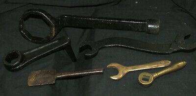 Collection lot old Spanners, handles, some brass, forged items, tap fitting
