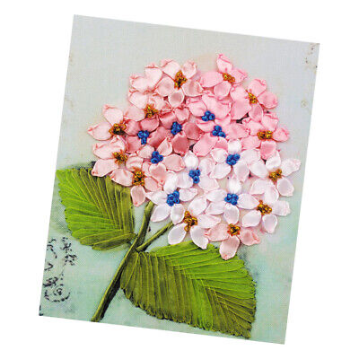 Ribbon Embroidery Cross Stitch Kit Flower Design for Home Wall Decor 20x25cm