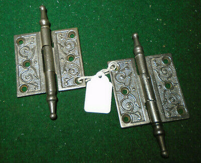 "PAIR of VINTAGE EASTLAKE HINGES 2 1/2 "" X 2 1/2""  STEEPLE TOP -  NICE (12464)"